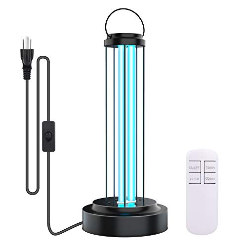 Ultraviolet Germicidal UV Lamp Quartz Lamp 110V 36W Light with Remote Control and Timer Function for Car Living Room Bedroom Household Kitchen Hotel Pet Area Sterilization and Disinfection (Style 2)