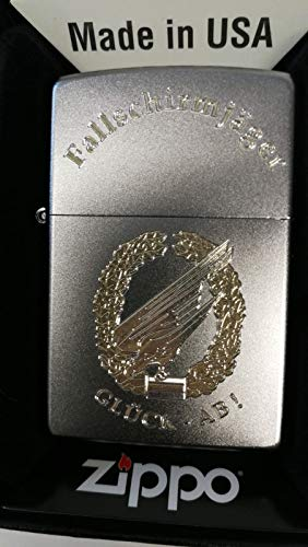Zippo Fallschirmjäger Glück-ab-Barettabzeichen-Diamandgravur, Silber, smal