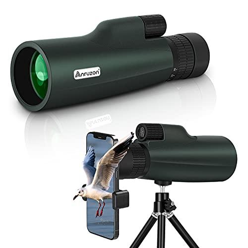 Anruzon 10-30x50 HD Starscope Monokular Teleskop, Hochleistungs Vergrößerungs Monokular mit Smartphone Halter, drehbarem Stativ, BAK4-Prisma und FMC für Wildtiere, Konzerte, Camping, Landschaft