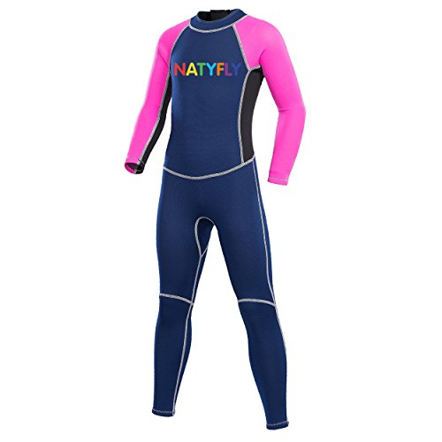 NATYFLY Neoprene Wetsuits for Kids Boys Girls Back Zipper One Piece Swimsuit UV Protection-Brand (Pink-2MM-Long Sleeve, M-for Height 42'-47')