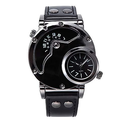 WJLED Relojes multifunción, Relojes para Hombre, Correas de Cuero, Movimiento de Cuarzo, Materiales Impermeables, Relojes comerciales,Negro
