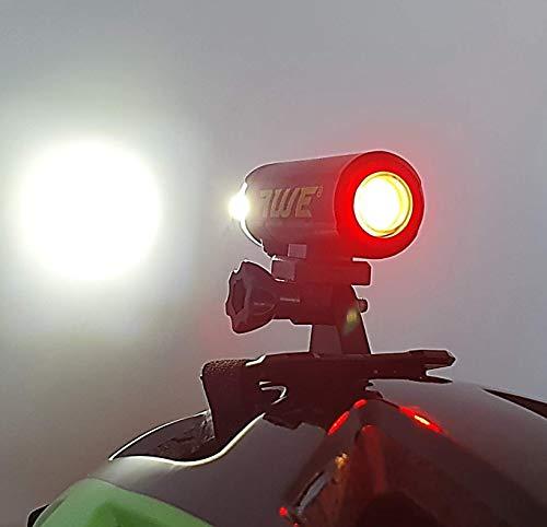 AWE awedual 1500 lumen 360 ° + TM USB batteria doppia lampada da casco per bicicletta anteriore/posteriore