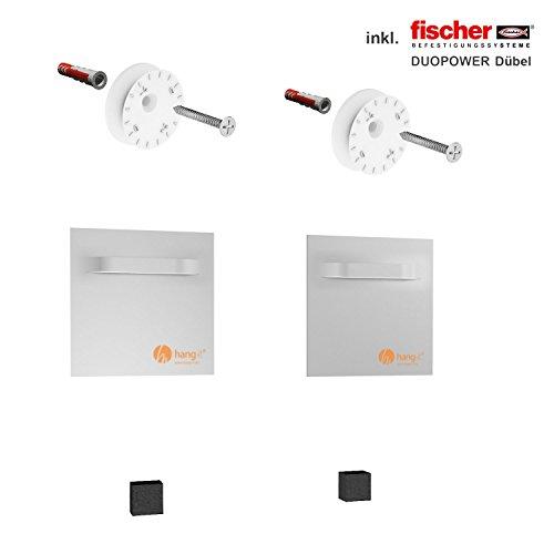 hang-it Premium Spiegel Aufhänger Set M - inkl. 2X 100x100mm Spiegelaufhänger - Spiegelhalter und Exzenterscheiben