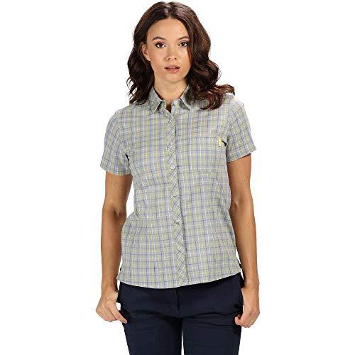 Regatta Damen Honshu III Cotton Stretch Short Sleeve Check Hemd, Light Steel, 44