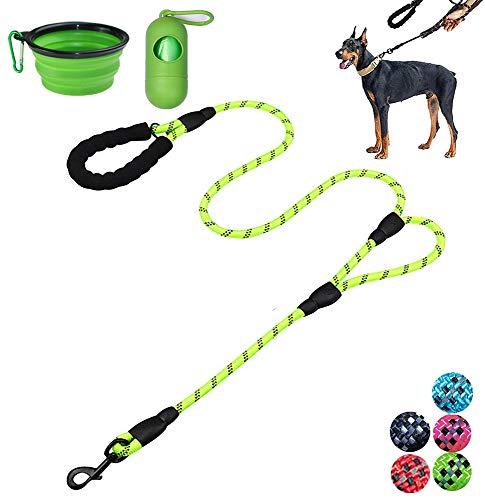 Moonpet Hundeleine – 1,8 m strapazierfähige Doppel-Griff reflektierende Hundeleine mit bequem gepolstertem Seil für mittelgroße und große Hunde, grün