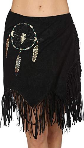 The Fantasy Tailors Indianer-Kostüm Damen Rock mit Fransen kurz Adler Falke Apache Karneval Fasching Hochwertige Verkleidung Einheitsgröße Schwarz
