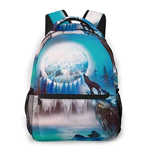 Lawenp Fashion Unisex Backpack Moon Wolf Bookbag Lightweight Laptop Bag for School Travel Outdoor Camping