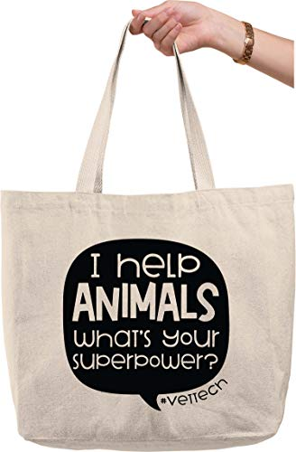 I help animals what's your superpower? hashtag vet tech quote Natural Canvas Tote Bag funny gift