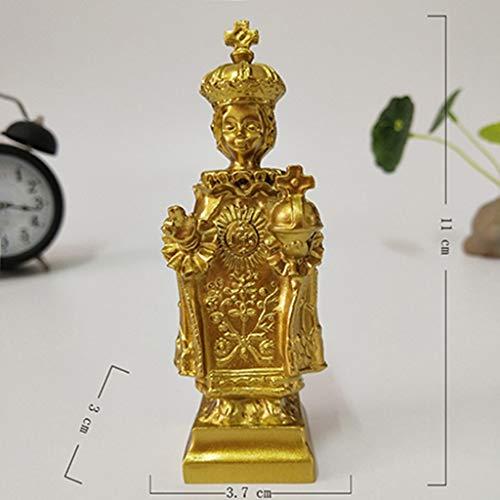 YOUZE Estatua Dorada de Jesús Madonna Figurines Estatuas de la Virgen María Decoraciones navideñas para el hogar Adornos, niño