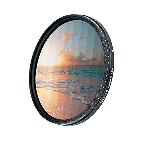 JJC Filtro ND variable de 52 mm (ND2 - ND2000) Filtro de densidad neutra ajustable, revestimiento de 18 capas, vidrio óptico HD, filtro de lente de cámara perfecto para fotografía paisajística