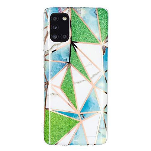 Yagook Silikon Hülle Überzug Geometrie Muster Handyhülle Ultra Dünn Weiche TPU Schutzhülle Stoßdämpfend Rückseite Soft Flexibel Etui Case Cover Kompatibel mit Samsung Galaxy A31 - Grünes Dreieck