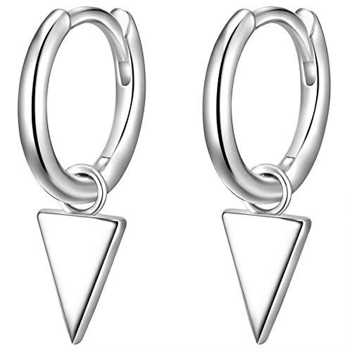 Glanzstücke München Damen-Ohrcreolen Dreieck Sterling Silber 925 - Creolen hängend für Frauen mit geometrischer Form