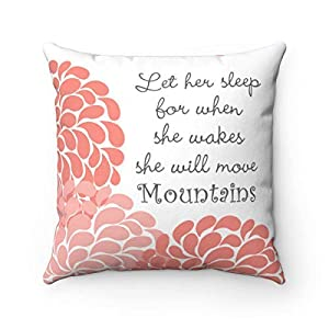 Decorative Square Nursery Decor, Coral Nursery Pillow, Nursery Throw Pillow Cover, Let Her Sleep Quote, Girl Nursery Bedding, Rocking Chair Pillow,16×16 Inches