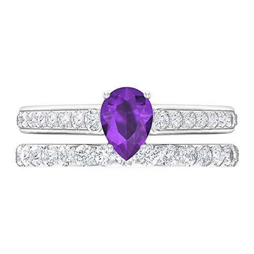 Rosec Jewels 14 quilates oro blanco pera Round Brilliant violeta Amethyst Moissanite