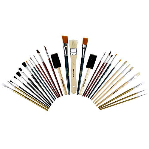 All Purpose Paint Brush Value Pack - Great with Acrylic, Oil, Watercolor, Gouache (30 Brushes)