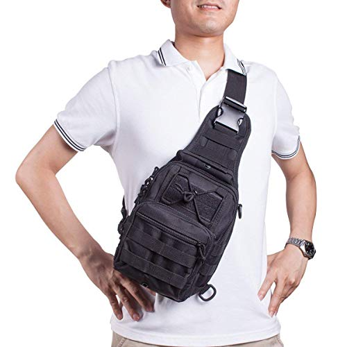 Shuweiuk Tactical Sling-Rucksack Militär Schulter Kasten EDC-Tasche für Outdoor-Sport Camp Wandern, schwarz - 7