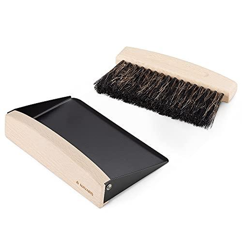Navaris Mini cepillo y recogedor - Set 1x escoba pequeña con 1x pala recoge migas de mesa encimera cocina - Recogemigas pequeño de 15.5 x 10 x 4 CM