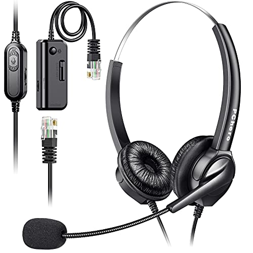 Auriculares telefónicos con micrófono, PChero RJ9 Micrófono con cancelación de ruido Adaptador de centro de llamadas Auriculares telefónicos para oficinas de negocios Servicio al cliente - Binaural