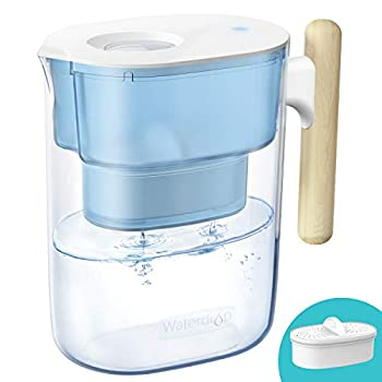 200-Gallon Long-Life Chubby 10-Cup Water Filter Pitcher with 1 Filter NSF Certified 5X Times Lifetime Reduces Lead Fluoride Chlorine and More BPA Free Blue by Waterdrop