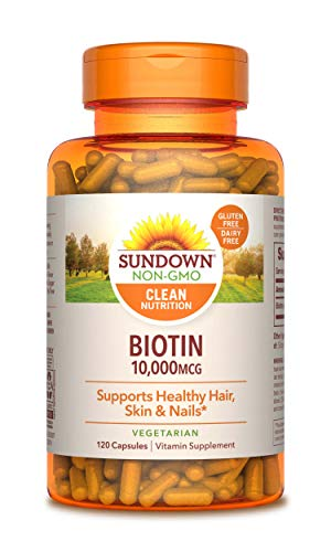 Biotin by Sundown, Vegetarian Vitamin Supplement, Supports Healthy Hair, Skin, and Nails, 10000 mcg, 120 Capsules