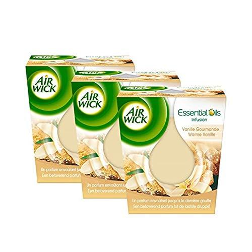 Air Wick Desodorisant Maison Bougie Parfumée Huiles Essentielles Vanille Gourmande - Lot de 3