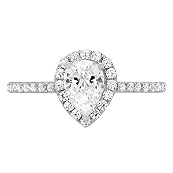 1.42ct Brilliant Pear Cut Halo Wedding Anniversary Promise Engagement Statement Bridal Ring 14k White Gold 9