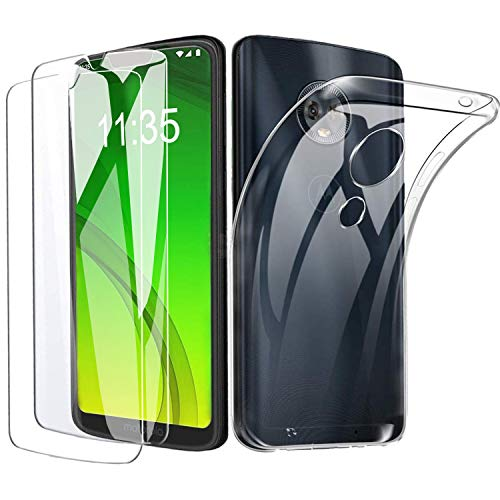 Motorola Moto G7 / Moto G7 Plus Panzerglas Hülle, [1 Handyhülle + 2 Schutzfolie] Folie Glas 9H Härte Anti-Kratzen, Schutzhülle Ultra Dünn TPU Silikon Case Transparent für Motorola Moto G7/G7 plus