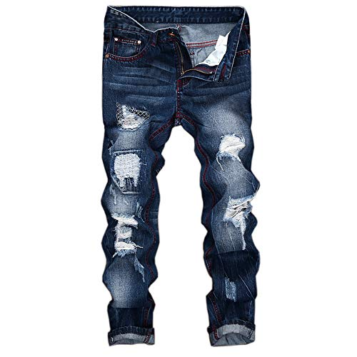 Rambling Mens Vintage Distressed Ripped Biker Slim Fit Jeans Moto Retro Denim Pants