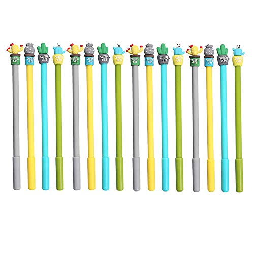 ZAONE Kawaii Cactus Pens for Students Children Back to School Birthday Gift, Cute Office Stationery School Supplies Kawaii Set of 12 (Succulents)