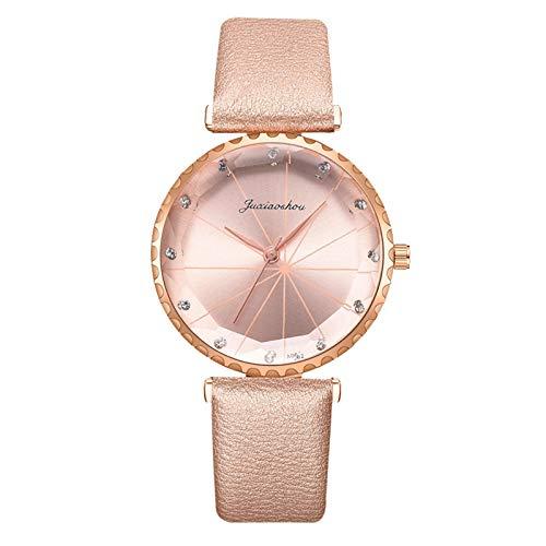 Lukame Reloj de pulsera analógico de cuarzo para mujer con esfera de mármol, correa de piel (dorado)