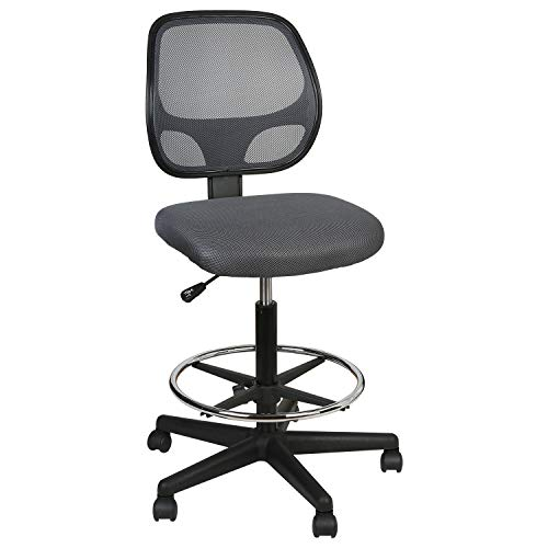 LUCKWIND Office Drafting Chair Mesh - Armless Task Ergonomic Lumbar Support Mid Back Computer Desk Chair Adjustable Stool Swivel Chair with Adjustable Chrome Foot Rest (Grey)