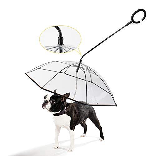 WU Paraguas para Perro, Mascota Desmontable Impermeable Transparente Mantiene su Mascota Cómodo en Seco en la Lluvia, Práctico, para Mascotas Que Caminan al Aire Libre