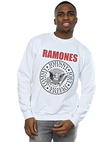 Ramones Hombre Red Text Seal Camisa De Entrenamiento Blanco Large