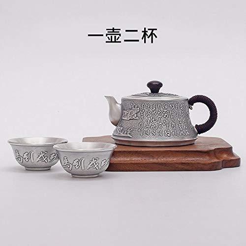 U/D Tetera de Plata 925 Té Sistema de Plata de Kung Fu Copa de Plata Juego de té de Plata esterlina de la Tetera de té for la decoración de la Ceremonia Mjzhxm (Color : Plata, Size : 236G)