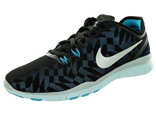Nike Women's Free 5.0 TR Fit 5 Metallic Training Shoe Black/Blue/Metallic Silver Size 8 M US