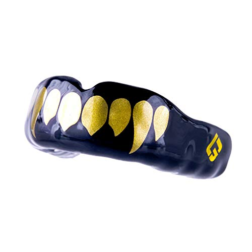 GuardLab APEX Mouthguards for Sports (APEX/Gold Fangs, Medium) | Adult & Youth Mouth Guard | Pre-Indented for a Precise Fit