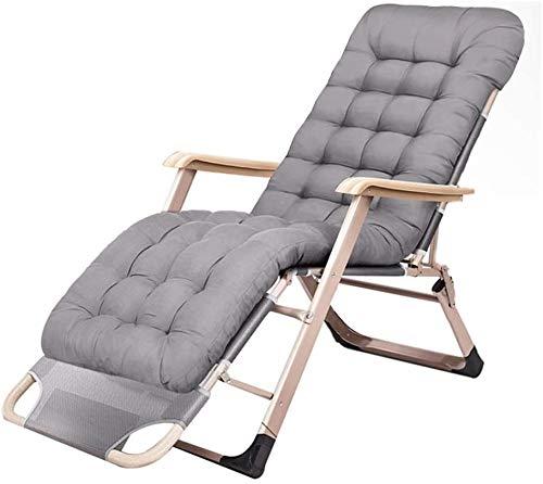 BATOWE Reclining Außenklappstühle Klappstuhl Tragbare Gartenstuhl Bettwäsche Klappbett als Mittagspause Klappstuhl Sessel (Color : Gray)