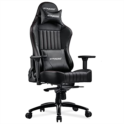 GTRACING Gaming Chair, Big and Tall Computer Chair, Ergonomic High Back Adjustable Gaming Chair with 4D Armrests,Head Pillow, and Lumbar Support, Black