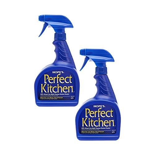 HOPE'S Perfect Kitchen Cleaner, All Purpose Cleaning Spray, No Residue Degreaser for Stovetops, Countertops, Sinks, Safe for Home Use, Pack of 2, 32 Ounce