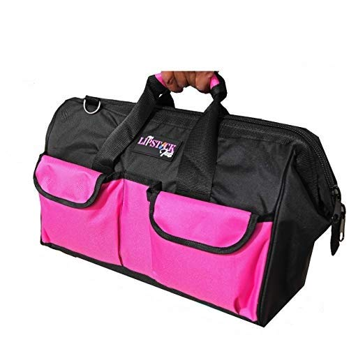 LipStick Tools 18-Inch Multi-Purpose Zip-Top Pink Storage Wide Mouth Tool Bag Organizer. Great for Home Improvement/Contractors Tools. Heavy Duty Storage Pockets and Shoulder Strap.