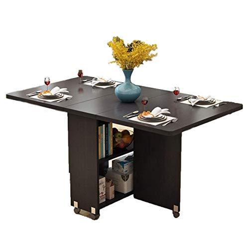 AOIWE Mesa de comedor de madera plegable multifuncional para el hogar, muebles sencillos y modernos (color: negro, tamaño: 120 cm)