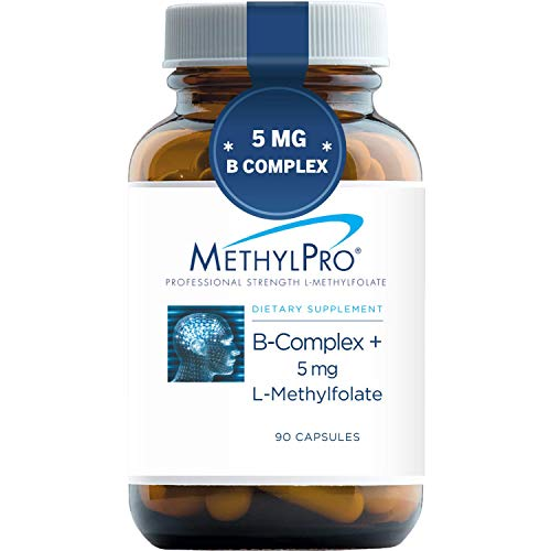 MethylPro B-Complex + 5mg L-Methylfolate (90 Capsules) - Professional Strength B Vitamins for Energy, Mood + Immune Support with Active Methyl Folate, Methyl B12, B6 as P-5-P - Gluten-Free