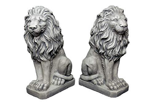 gartendekoparadies.de Herrliches Löwen Paar Torwächter aus Steinguss, frostfest