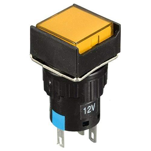 DC 12V Push BOTÓN Auto-reajuste Interruptor Cuadrado LED LED MUMPARIO Campo (Color : Yellow)