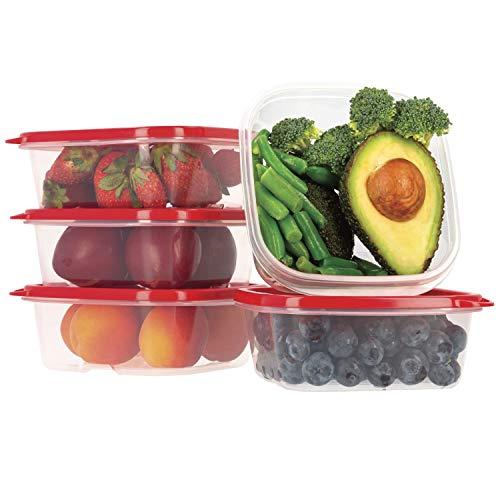 Frischhaltedose Set aus BPA-freiem Plastik, Aufbewahrungsbox mit rotenen Deckeln, Brotdose, Gefrierschrank Organizer, Lunchbox, Oursson Küchen Organizer (5 x 400 ml, Rot)