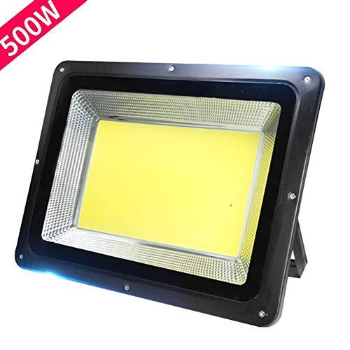 Reflector LED COB de 7000 lúmenes, 500 W, luz de seguridad para exteriores IP66 a prueba de agua, luz diurna blanca de 6000 K, luz de inundación para exteriores para patio, garaje, almacén, estaciona