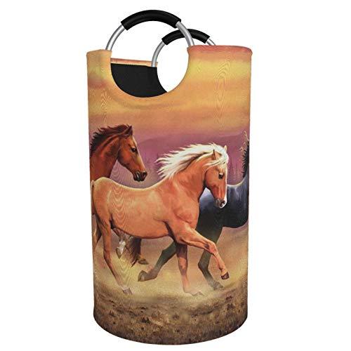 Sunmuchen Cesta de lavandería para caballos, impermeable, grande, organizador para ropa, juguetes, dormitorio, baño, con asas de aluminio