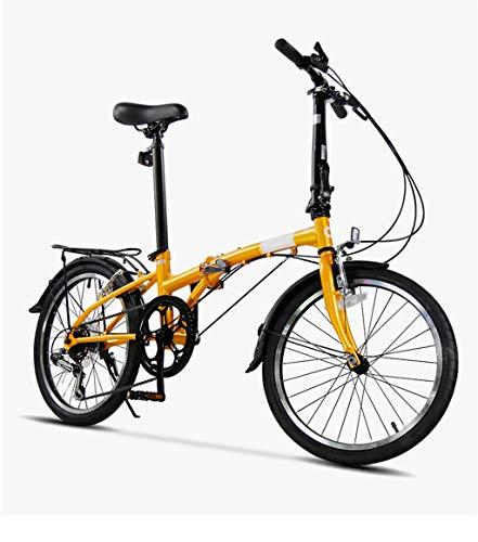 TYXTYX 20 Zoll Klapprad 6 Speed klappräder, Fahrrad Faltrad leicht, Cityräder für Damen & Herren, Klappräder Mountainbike, Nabenschaltung klappräder für Erwachsene,Gelb