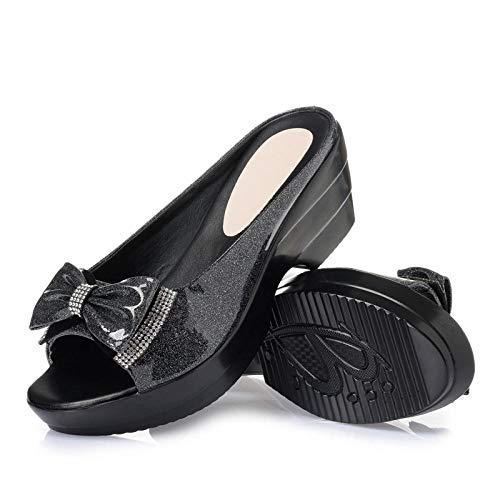 Top Chanclas Unisex para Adultos,Sandalias Planas para Mujer,Pantuflas Impermeables con tacón de cuña Drag-Black_40,Zapatos de Playa y Piscina Unisex para Adultos