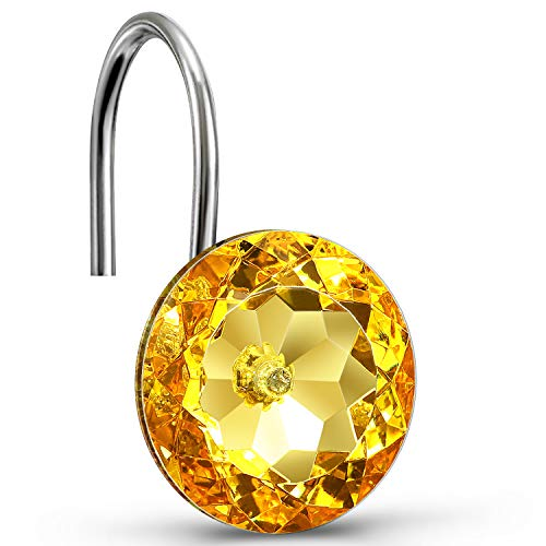 CHICTIE Yellow Shower Curtain Hooks Rings Diamond,Set of 12 Bling Gold Crystal Decorative Shower Curtain Hooks,Stainless Steel Rust-Proof Round Rhinestones Shower Rings Hangers for Bathroom